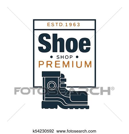 Shoe shop premium logo, estd 1963 vintage badge for footwear brand,  shoemaker or shoes repair vector Illustration Clipart