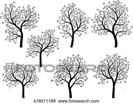 Awesome Clip Art   Silhouettes Of Spring Trees.. Fotosearch   Search Clipart,  Illustration Posters