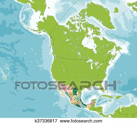 Clip Art of United Mexican States map k37336817 - Search Clipart ...
