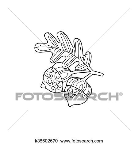 Clipart - bellotas, y, hoja, zentangle, para, colorido k35602670 ...