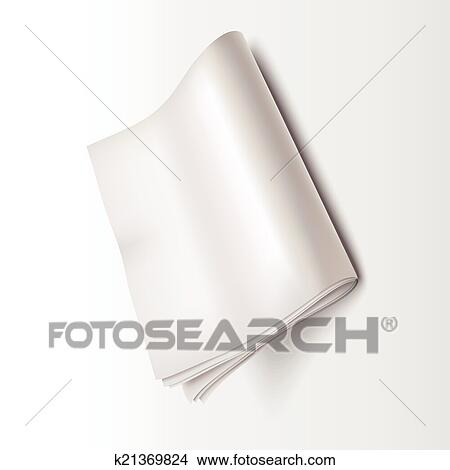 Blank Newspaper Isolated Over White Background
