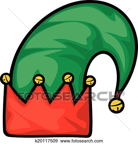 clip art of christmas elf hat k20117509 search clipart rh fotosearch com clip art elves clip art elvis presley