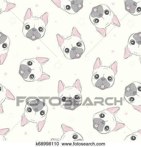 Dog Seamless Pattern French Bulldog Paw Vector Repeat Background Tile Cartoon Wallpaper Isolated Black Clipart K68998110 Fotosearch