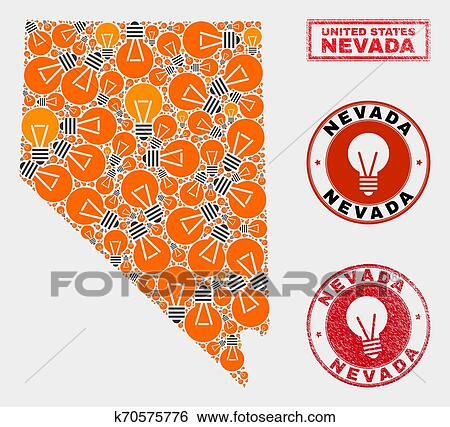 Energy Bulb Collage Nevada State Map and Distress Stamps ...