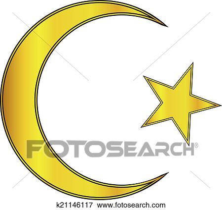 Clip Art Of Gold Star And Crescent Icon K21146117 Search Clipart