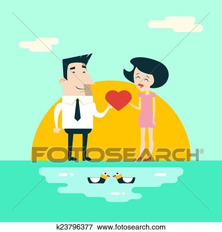 clip art of love male and female cartoon characters valentine s day