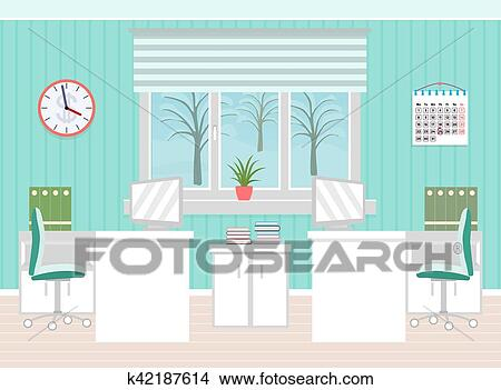 Clipart of Office room interior including two work spaces with ...