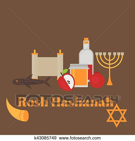 Clip art of rosh hashanah jewish new year greeting card hebrew clip art rosh hashanah jewish new year greeting card hebrew symbols judaism elements m4hsunfo