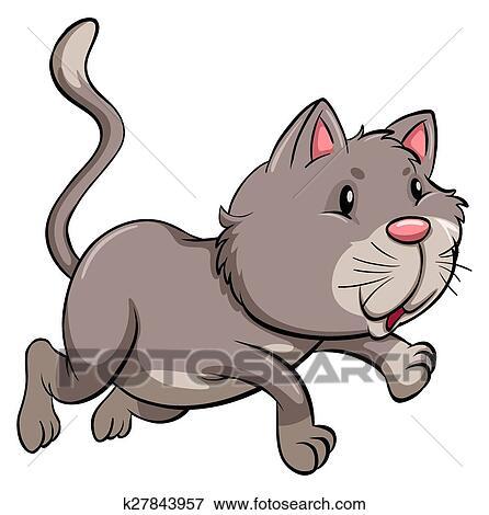Clip art uno gatto grigio k27843957 cerca clipart for Gatto clipart