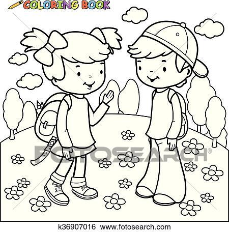 Clip Art Ausmalbilder Mädchen Und Junge Studenten K36907016