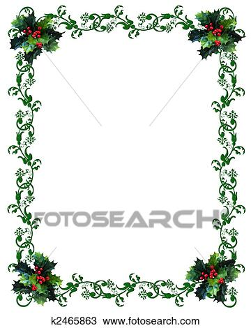 Christmas border Holly Drawing