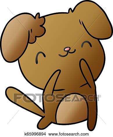 Gradient Cartoon Kawaii Of A Cute Dog Clipart K65996894 Fotosearch