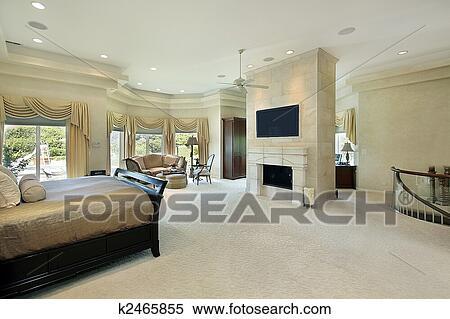 Slaapkamer Met Openhaard : Stock afbeelding meester slaapkamer met openhaard k2465855