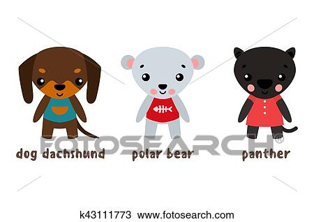 Pantera e orso polare cane set di cartone animato caratteri