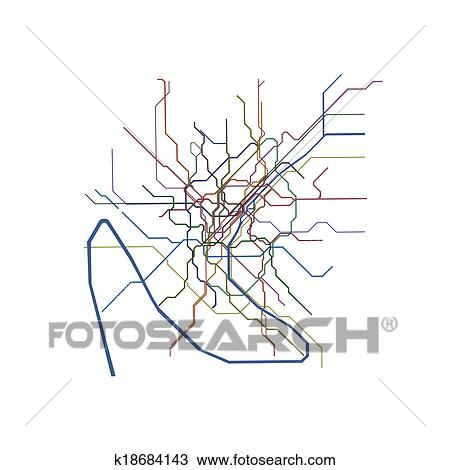 Drawing Of Paris Metro Map K18684143 Search Clipart Illustration