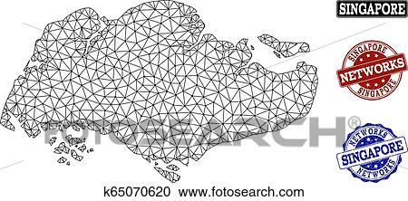 Clipart of Polygonal Network Mesh Vector Map of Singapore and ...