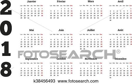 2018 year simple calendar on french language isolated on white