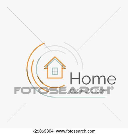 Thin Line Neat Design Logo Home Idea Clipart K25853864