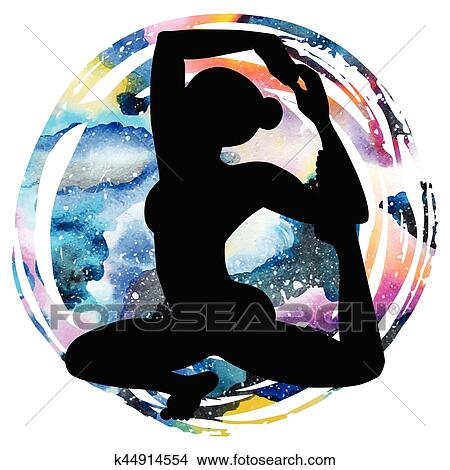 women silhouette mermaid yoga pose eka pada raja