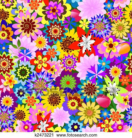 Abstract Seamless Floral Pattern Vector Clipart K2473221