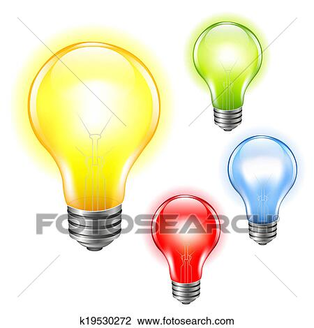 Color Bulbs Set Drawing K19530272 Fotosearch