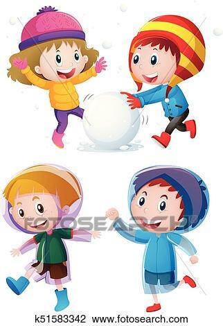 Enfants Jouer A Neige Dans Hiver Clipart K51583342 Fotosearch