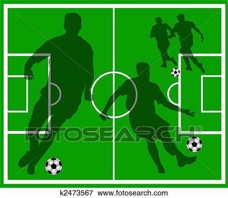 Fussball Feld Mit Spieler Silhouetten Stock Illustration