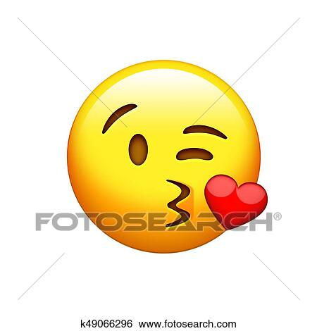 Isolated Yellow Smiley Face With Kissing Mouth Icon Stock Photograph