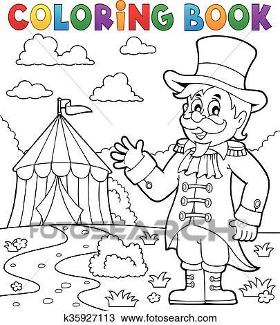 Clipart - libro colorear, circo, director de circo, tema, 2 ...