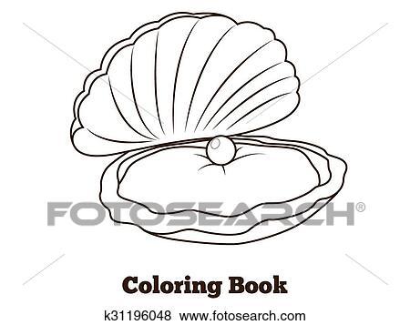 Libro Colorear Ostra Pez Caricatura Ilustración Clip Art