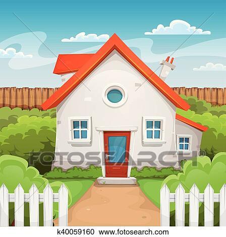 Maison int rieur jardin clipart k40059160 fotosearch - Jardin interieur maison ...