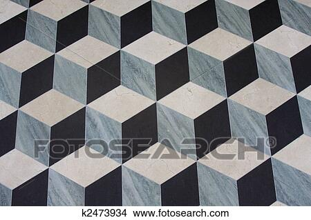 Stock Photo Of Marble Floor Which Looks Like Dimensional Cubes - 3 dimensional floors