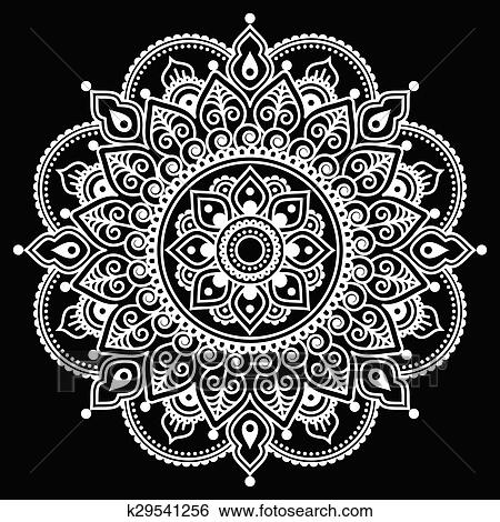Clip Art Of Mehndi Indian Henna Tattoo Pattern K29541256 Search