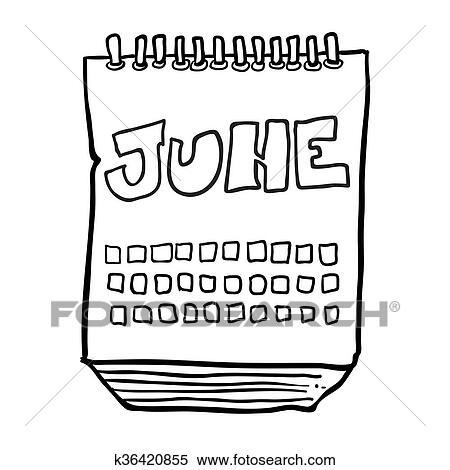 Calendario Di Giugno.Nero Bianco Freehand Disegnato Cartone Animato Calendario Esposizione Mese Di Giugno Clipart