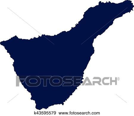 Tenerife map silhouette Clip Art | k43595579 | Fotosearch