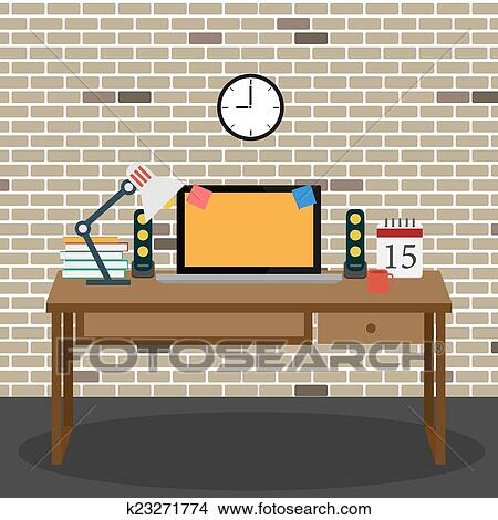 Clipart of Vector Office room.interior,books ,desk,clock,computer ...