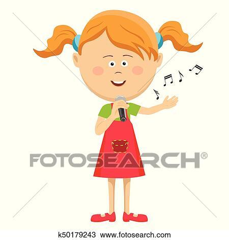 かわいい 女の子 で マイクロフォン 歌うこと 隔離された 白