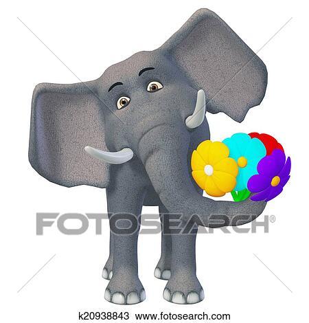 3d cartone animato elefante con fiori disegno k20938843
