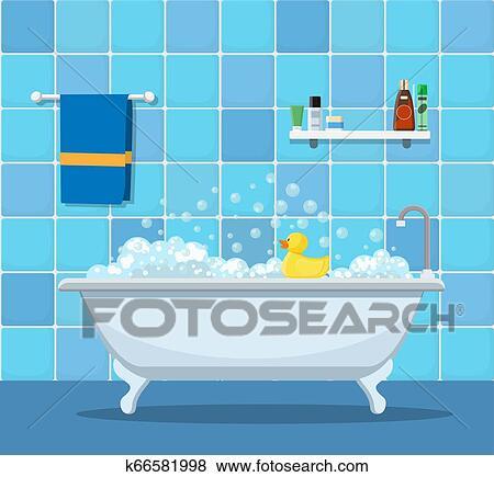 Badewanne Mit Schaum Blasen Clip Art K66581998 Fotosearch