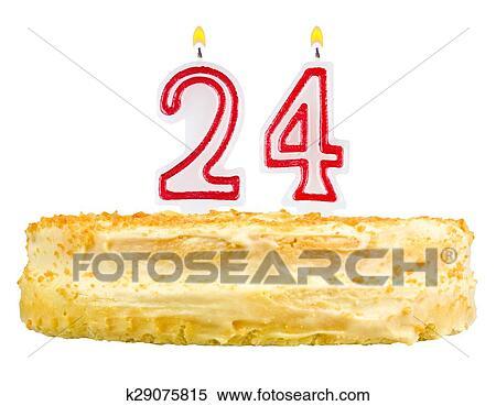 Stock Image Of Birthday Cake Candles Number Twenty Four Isolated