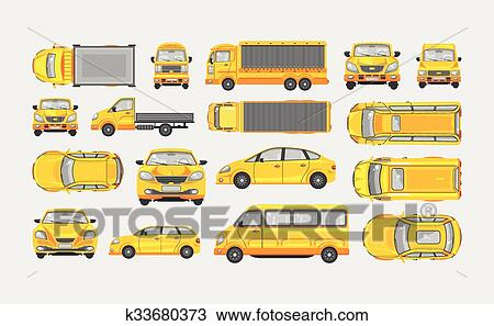clipart ensemble de voitures hayon camion livraison lumi re camion caravane minibus. Black Bedroom Furniture Sets. Home Design Ideas