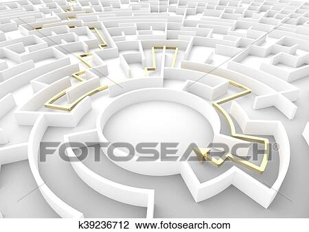 Gold arrow going through maze showing a solution  Business strategy  concepts  Drawing