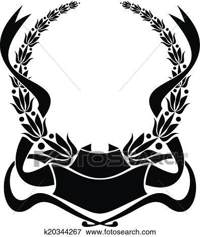 clip art of heraldic laurel wreath k20344267 search clipart rh fotosearch com heraldry clipart download free heraldic clip art for machine embroidery