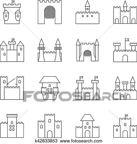 Historical Ancient Castle Linear Icons Citadel And Chateau Fortress