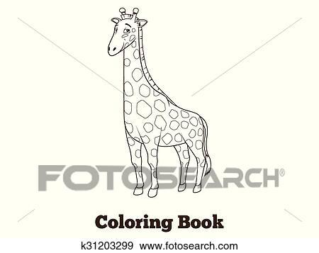 Clip Art - libro colorear, jirafa, africano, sabana, animal ...