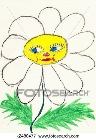Naïf Couleur Dessin Sur A Blanc Papier Fait Les Enfant Camomille Fleur à Figure Banque Dillustrations
