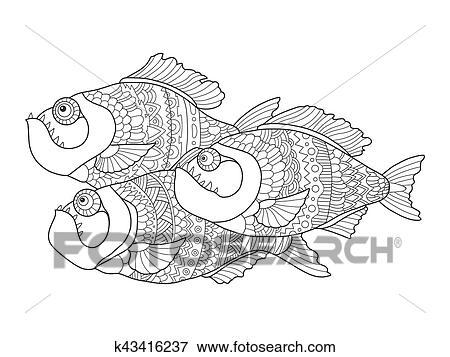 Clip Art Piranha Ausmalbilder Für Erwachsene Vektor K43416237