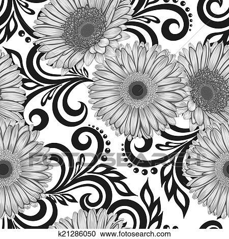 Clipart - schwarz weiß, seamless, muster, mit, gerbera, blumen, und ...