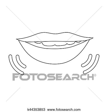 drawing of speaking mouth icon in outline style isolated on white