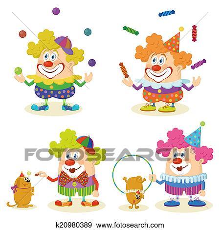 Stock Illustraties Spotprent Circus Clowns Set K20980389 Zoek